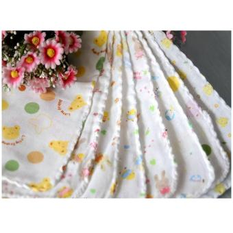 Túi 10 khăn sữa có hình 2 lớp 32x32cm xuất Nhật