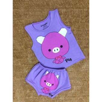 Bộ quần áo trẻ em in hình con heo BTE021 (Màu tím)