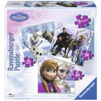 Bộ 3 xếp hình Puzzle công chúa Frozen Anna và Elsa 25/ 36/ 49 mảnh - Ravensburger 7276