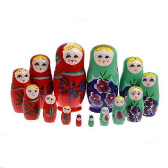 7pcs Dolls Set 17CM Wooden Russian Nesting Babushka Matryoshka Hand Paint - intl