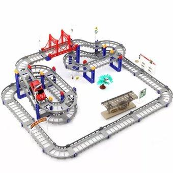 Bộ lắp ghép đường đua ô tô siêu tốc 88 chi tiết cho bé (Xám)