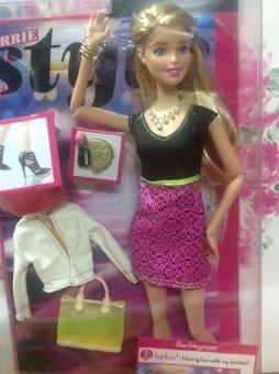 Búp bê Style Glam Doll with Black/Pink Leopard Print Dress CLL34 (Trắng và hồng)