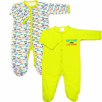 Bộ 2 áo liền quần kèm tất bé trai Baby Gear (Mẫu râu 12)
