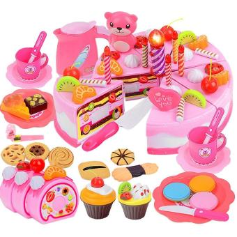 80 PCS Kids Children Plastic Educational Pretend Play Toys Kitchen Cake Dessert Toy Set Christmas Gift Toy for Over 3 Years Old Kids Pink - intl