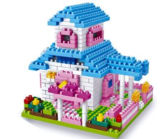 Bộ đồ chơi lắp ghép hình 3D mô hình ngôi nhà (xanh)
