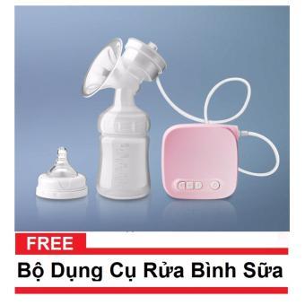 Máy hút sữa điện đơn cao cấp Cicimom Tặng kèm bộ dụng cụ rửa bình(Hồng)