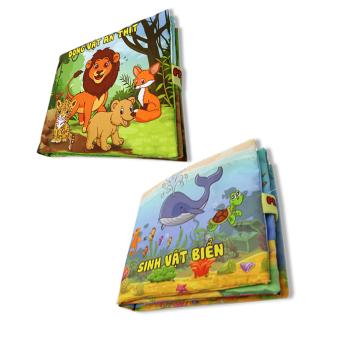 Bộ 2 sách vải cho bé chơi mà học Pipo - Sinh vật biển và động vật ăn thịt