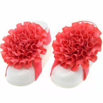 Nơ đeo chân hoa mẫu đơn handmade cho bé 09