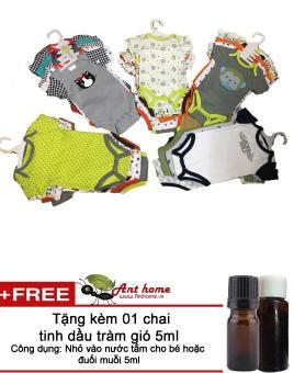 Combo 5 áo liền quần (body suite Baby Gear) cho bé trai từ 0-3 tháng (mầu sắc bất kì) + Tặng 01 chai tinh dầu tràm gió 5ml