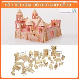Bộ 2 Đồ chơi ghép gỗ 3D-Lâu đài + 34 Nội thất