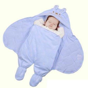 Chăn ủ hình thú có chân cho bé màu xanh
