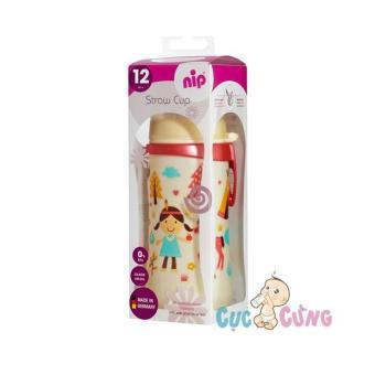 Bình tập uống NIP nhựa PP cổ rộng 330ml có ống hút - bé gái