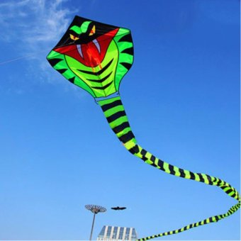 NEW 15m Power Cyan Cobra Snake Kite Outdoor Fun Sports easy to fly Children Toys - intl