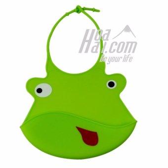 Yếm ăn cho bé có máng hứng in hình ếch con HOAHAI.COM (xanh)