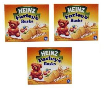 Bộ 3 hộp bánh ăn dặm Heinz Farley's Rusks original 120gx3