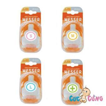 Ty bình sữa Wesser cổ rộng size M - 2 cái/vỹ