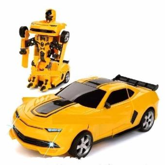 Đồ chơi Xe ô tô biến hình thành Robot có nhạc (Vàng)