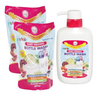 Bộ 1 chai nước rửa bình sữa Farlin 500ml + 2 túi nước rửa bình sữa Farlin x 700ml