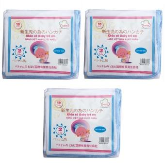 Bộ 03 Túi 10 khăn sữa 02 lớp 34x34(cm) 100% cotton