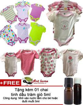 Combo 2 áo liền quần (body suite Baby Gear) cho bé gái từ 0-6 tháng (mầu sắc bất kì) + Tặng kèm 1 chai tinh dầu tràm gió 5ml