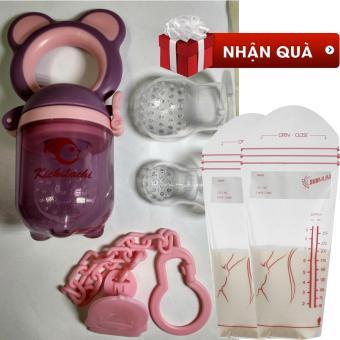 Túi nhai kichilachi hàng Việt Nam xuất Nhật tặng kèm 02 túi trữ sữa SUNMUM (Hồng phối tím)