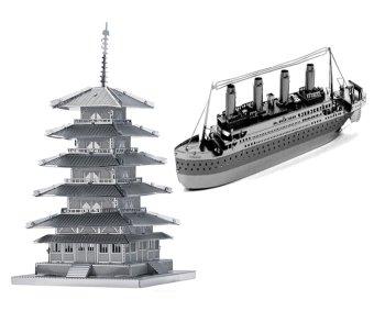 Bộ xếp hình 3D kim loại TÀU TITANIC và CHÙA TOJI Alichienchien