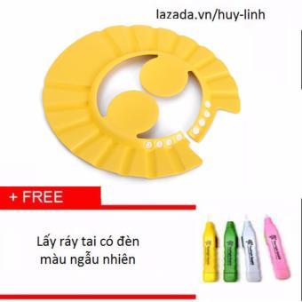 Mũ chắn nước có vành tai màu vàng+ Tặng dụng cụ lấy ráy tai có đèn