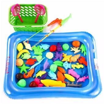 Bộ đồ chơi câu cá cho bé kèm bể phao có bơm tay (Bể cá màu cam)- BV