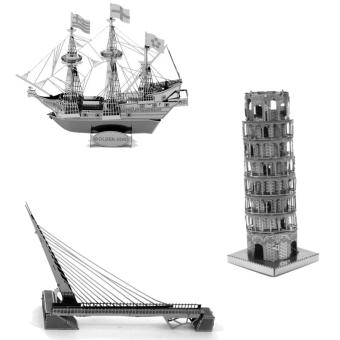Bộ 3 xếp hình 3D kim loại Cầu dây văng SUNDIAL + Tháp nghiên PISA + Cầu cổng vàng GOLDEN GATE