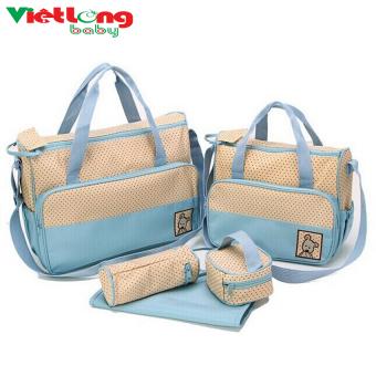 Túi đựng đồ cho mẹ và bé 5 chi tiết (xanh nhạt)