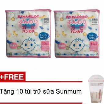 Bộ 02 túi 10 khăn sữa (xô) 02 lớp có hình 100% cotton + Tặng 10 túi trữ sữa Sunmum
