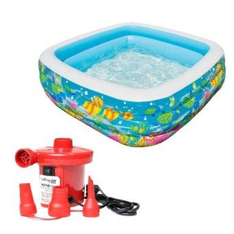 Bộ bể bơi phao vuông đại dương Intex 57471 và Bơm điện bơm bể bơi 210W