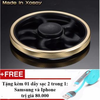 Con quay đồng vàng Fidget Spinner hàng hiệu Made in Xosoy (tròn) + Tặng 01 dây sạc điện thoại 2 trong 1 cho Iphone và Samsung