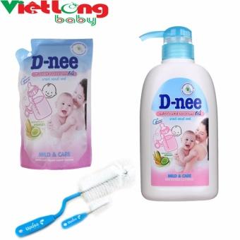 Bộ 1 chai nước rửa bình sữa D-nee 500ml + 1 túi nước rửa bình sữa D-nee x 400ml + 1 cọ bình sữa