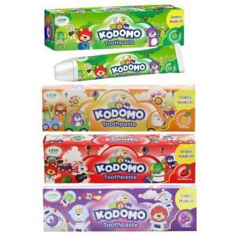 Combo 4 hộp kem đánh răng Lion Kodomo hương trái cây cho trẻ em trên 5 tuổi 4 x 45g