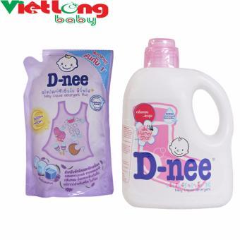 Bộ 1 chai nước giặt xả D-nee hồng 960ml + 1 túi dung dịch giặt xả D-nee tím 600ml
