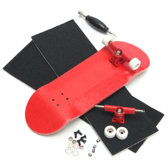 Basic Complete Wooden Fingerboard Finger Scooter with Bearing Grit Box Foam Tape Red - intl