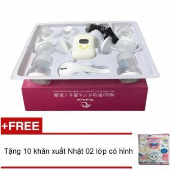 Máy hút sữa điện đôi Kichilachi tặng kèm túi 10 khăn sữa có hình 02 lớp xuất Nhật 32x32cm