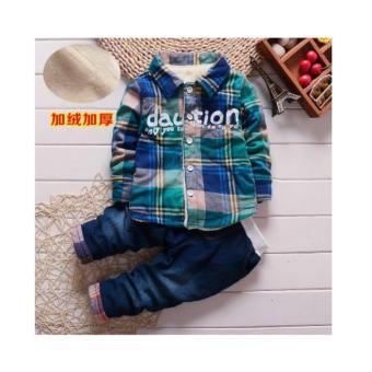 Bộ quần áo sơ mi caro cho bé Xanh NTKIDS-058 (size 110cm)