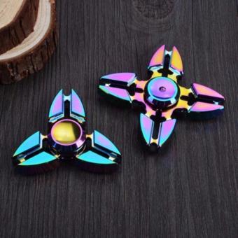 BỘ 2 Con Quay đa sắc mầu bằng kim loại không ma sát xả stress -Fidget Spinner