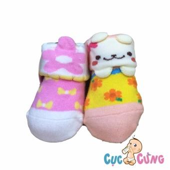 Bộ 2 đôi Vớ cho trẻ sơ sinh - màu sắc dành cho bé gái (0-3 tháng)