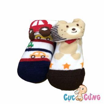 Bộ 2 đôi Vớ cho trẻ sơ sinh - màu sắc dành cho bé trai (0-3 tháng)