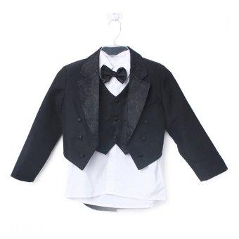 Quần áo vest + Gile và sơ mi cho bé trai (Trắng)