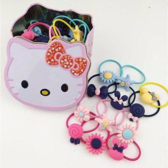 Hộp sắt đựng dây chun buộc tóc, kẹp tóc cho bé Hello Kitty