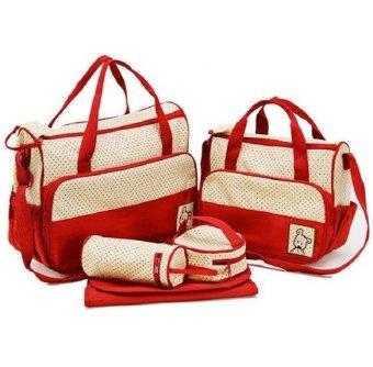 Túi đựng đồ cho mẹ và bé 5 chi tiết HD HDM270 (Đỏ đô)