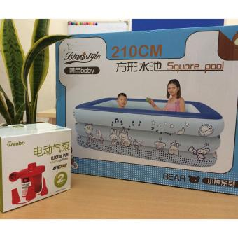 Bể bơi 3 tầng cho bé loại 210cmx145cmx65cm + Tặng bơm điện (Xanh)