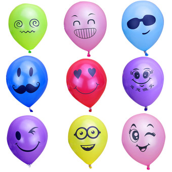 100 Pcs 10 inch Mixed Color Latex Emoji Smiley Face Expression Decoration Balloons for Wedding Birthday Party Random Style - intl