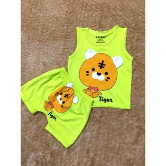 Quần áo trẻ em mùa hè in hình Hổ con BTE023 (Màu xanh)