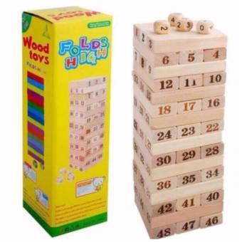 BỘ ĐỒ CHƠI RÚT GỖ WISS TOY (Gồm 54 thanh gỗ và 4 xúc xắc) LOẠI TO 1000gr