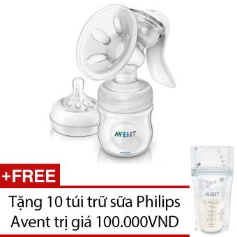Máy hút sữa Philips Avent BPA free (Trắng) + Tặng 10 túi trữ sữa Philips Avent
